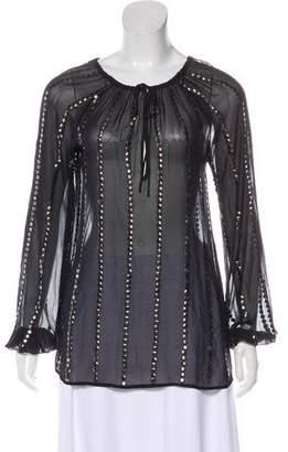 L'Agence Embellished Silk Blouse