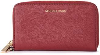Michael Kors Red Leather Wallet With Removable Wrist Lace.