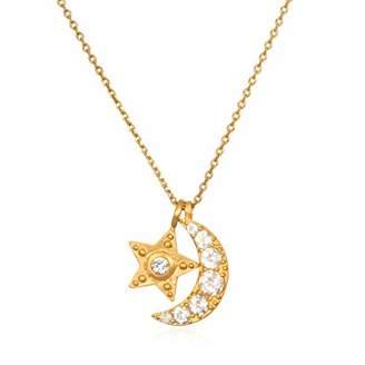 Satya Jewelry Women's White Topaz Moon & Star Pendant Necklace (30-Inch)