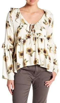 Taylor & Sage Sunflower Print Ruffle Blouse