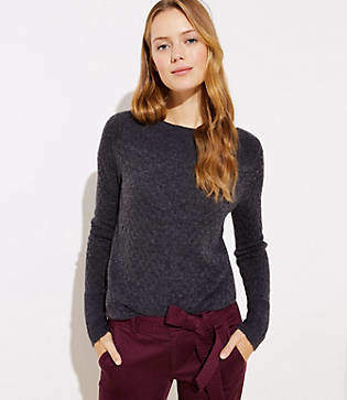 LOFT Stitchy Boatneck Sweater