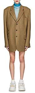 Maison Margiela Women's Checked Wool Tweed Oversized Three-Button Blazer - Yellow