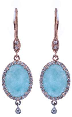 Meira T 14K Rose Gold Diamond Halo Blue Amazonite Drop Earrings
