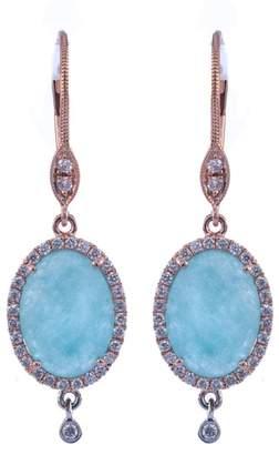 Meira T 14K Rose Gold Diamond Halo Blue Amazonite Drop Earrings