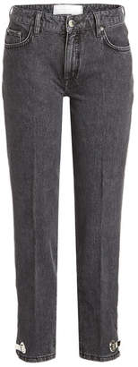 Victoria Beckham Victoria Cropped Jeans with Embellished Ankles