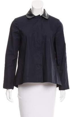 Tory Burch Leather-Trimmed Pleated Jacket