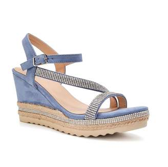 Paradox London Yoki Blue High Heel Ankle Strap Espadrilles