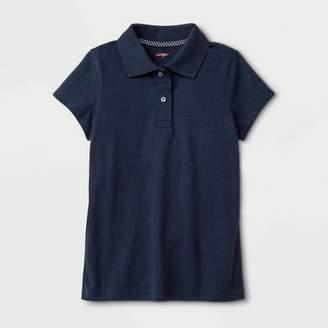 Cat & Jack Girls' Adaptive Short Sleeve Polo Shirt with Magnetic Closure Navy