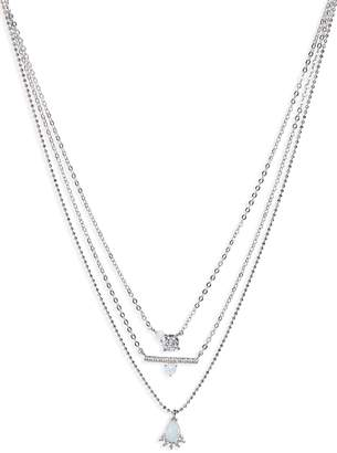 Nordstrom Stone & Crystal Layered Pendant Necklace