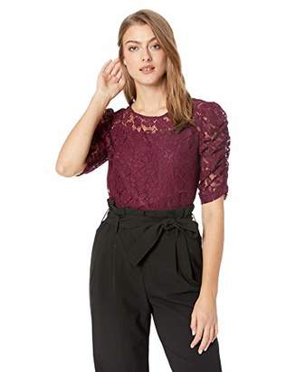 Nanette Lepore Nanette Women's Elbow Puff Sleeve Flora Re-Emb Lace Top