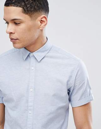 Jack and Jones Short Sleeve Shirt In Linen Mix