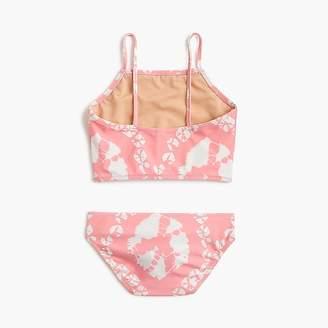 J.Crew Girls' cropped tankini set in pink tie-dye