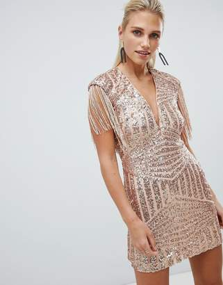 Rare London limited edition fringe sequin plunge mini dress