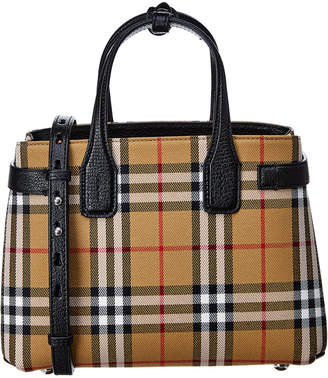 Burberry Small Banner Vintage Check Canvas & Leather Tote