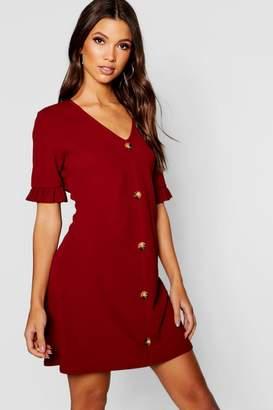 boohoo Horn Button Frill Sleeve Shift Dress