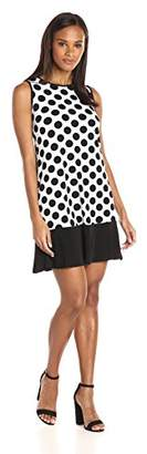 Tiana B Women's Sleeveless Printed Polka Dot Trapeze Dress