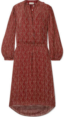 By Malene Birger Belted Printed Crepon Dress - Claret