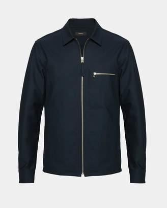 Theory Cotton Pique Zip Shirt Jacket