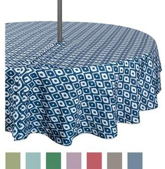 """Design Imports Casual Round Ikat Umbrella Outdoor Tablecloth, 52"""" x 52"""", 100% Polyester, Multiple Sizes"""