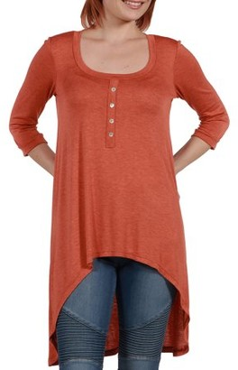 24/7 Comfort Apparel Women's Laila Henley Neckline Tunic Top