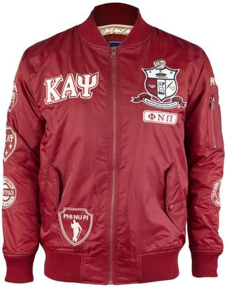 Big Boy Headgear Kappa Alpha Psi Fraternity Mens Bomber Jacket Crimson