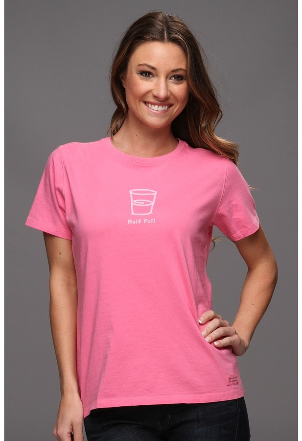 Life is Good Half Full Crusher Tee (Hot Pink) - Apparel