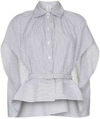 Rosie Assoulin striped belted cotton cape shirt
