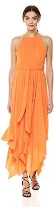 Halston Women's Sleeveless High Neck Printed Gown with Strap Detail