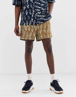 Asos co-ord boxy shorts in abstract print heavy crinkle cotton