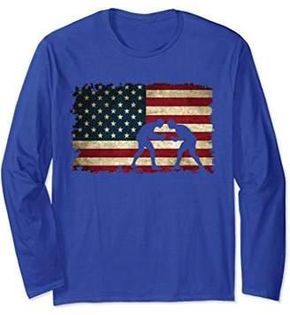 Wrestling American Flag Tee Shirts Gift for a Wrestler