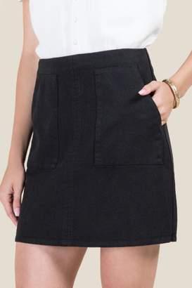 francesca's Halle Front Pocket Mini Skirt - Black