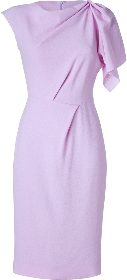 Roksanda Ilincic Lilac One-Sleeve Wool Crepe Dress