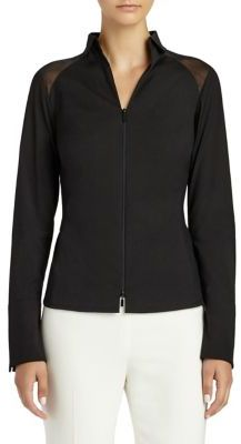 Lafayette 148 New York Esme Paneled Zip-Front Blouse $398 thestylecure.com