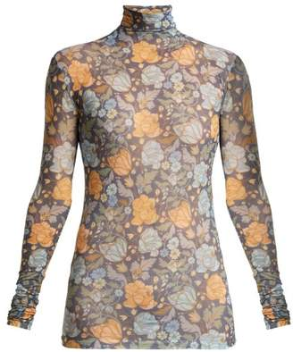 Acne Studios - Floral Print Roll Neck Top - Womens - Blue Multi