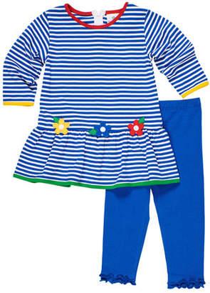 Florence Eiseman Stripe Knit Flower Applique Dress w/ Ruffle Trim Leggings, Size 12-24 Months