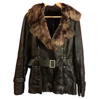 No Name Brown Fur Leather Jacket for Women