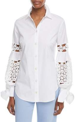 Lela Rose Button-Front Collared Stretch Poplin Shirt w/ Lace Insets
