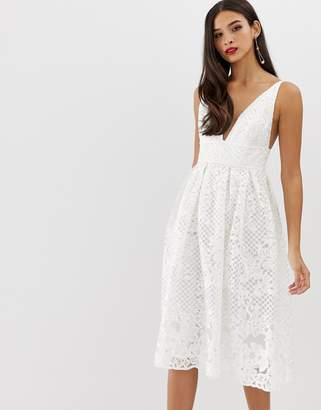 Asos Design DESIGN prom midi dress with plunge neck in corded lace
