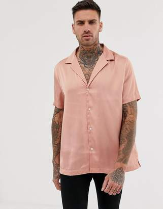 Asos Design DESIGN regular fit satin shirt in pink