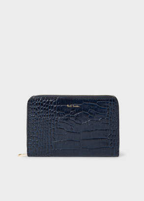 4a0fe5cfaae7 Paul Smith Women's Medium Blue Mock-Croc Leather Zip-Around Wallet