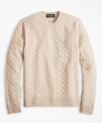 e74e42066c Brooks Brothers Cable-Knit Crewneck Cashmere Sweater
