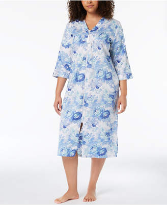 Miss Elaine Plus Size Woven Sateen Robe