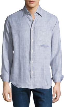 Brioni Men's Linen Plaid Button-Down Shirt