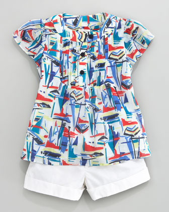 Milly Minis Sailboat-Print Voile Blouse, Sizes 8-10