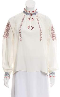 Vilshenko Embroidered Silk Blouse