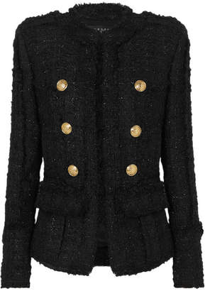 Balmain Double-breasted Frayed Metallic Tweed Blazer