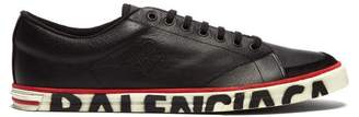 Balenciaga Distressed Logo Sole Leather Trainers - Mens - Black