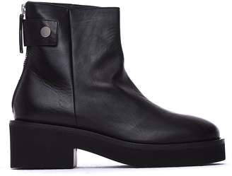 Vic Matié Black Leather Heeled Ankle Boots With Press-stud