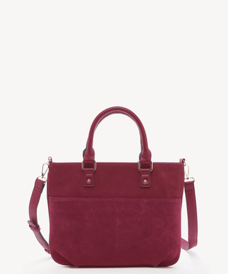 Sole Society Women's Jamari Satchel Suede In Color: Garnet Bag Fuax Leather From