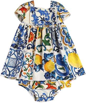 Dolce & Gabbana Maiolica Poplin Dress & Diaper Cover